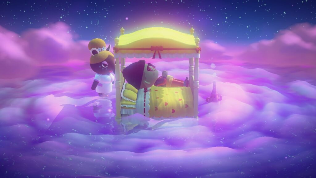 Stubot lying in bed surrounded by Luna in a dreamy cloudscape.