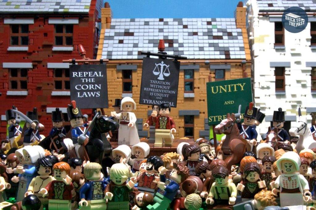 Peterloo Massacre depicted with LEGO minifigures.