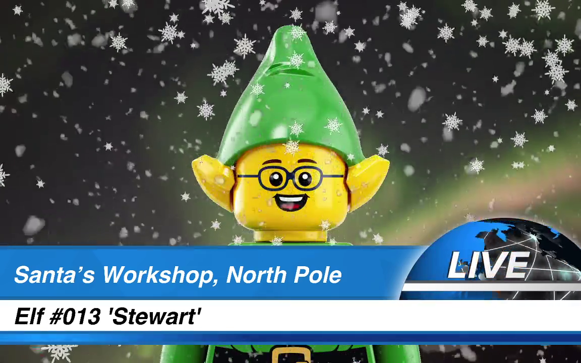 LEGO elf minifigure presenting news bulletins in a blizzard from Santa's Workshop, North Pole