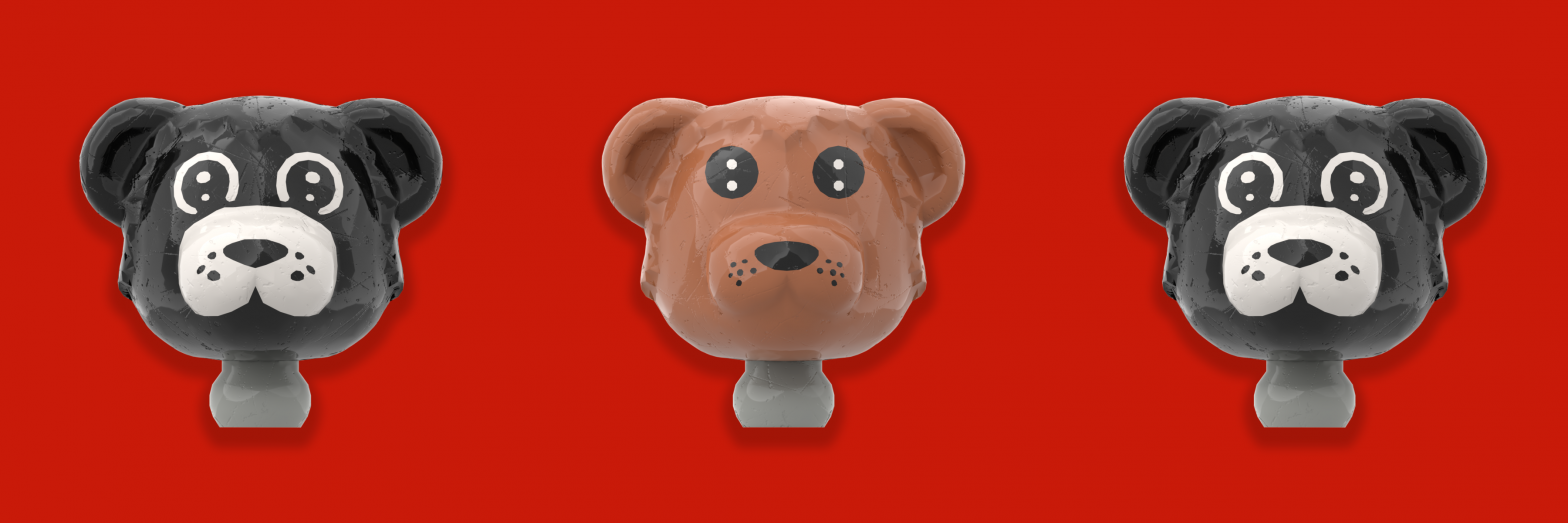 3 Fabuland bear heads