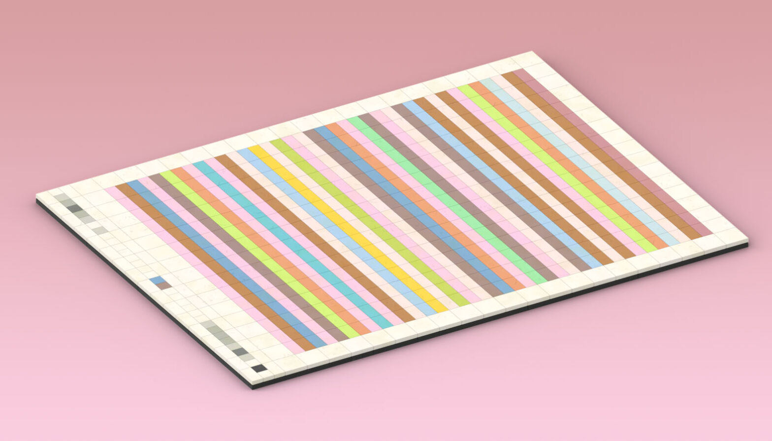 Portrait poster showing 38 horizontal bands in candy colours.