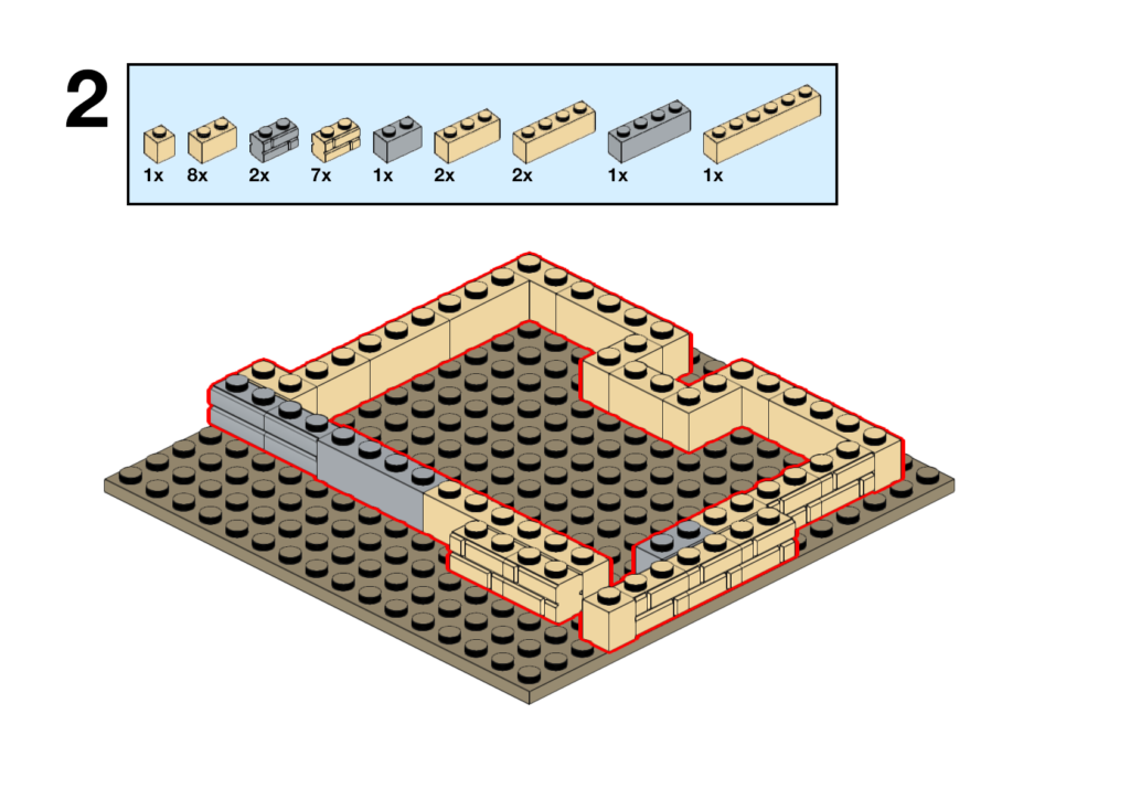 Classic Lego instructions showing placement of various tan and light bluish gray bricks on a dark tan 16x16 plate.