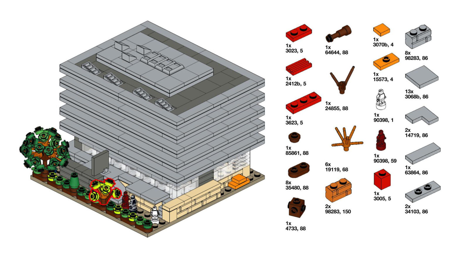 Classic Lego instructions showing Main Library made out of Lego and a partial parts inventory.