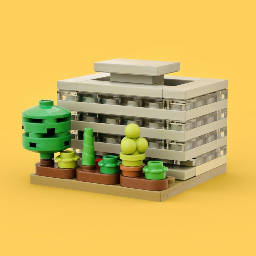 Main Library made out of only 100 Lego elements. Floors are represented by grey and clear plates. Green shrubs and trees surround the building.